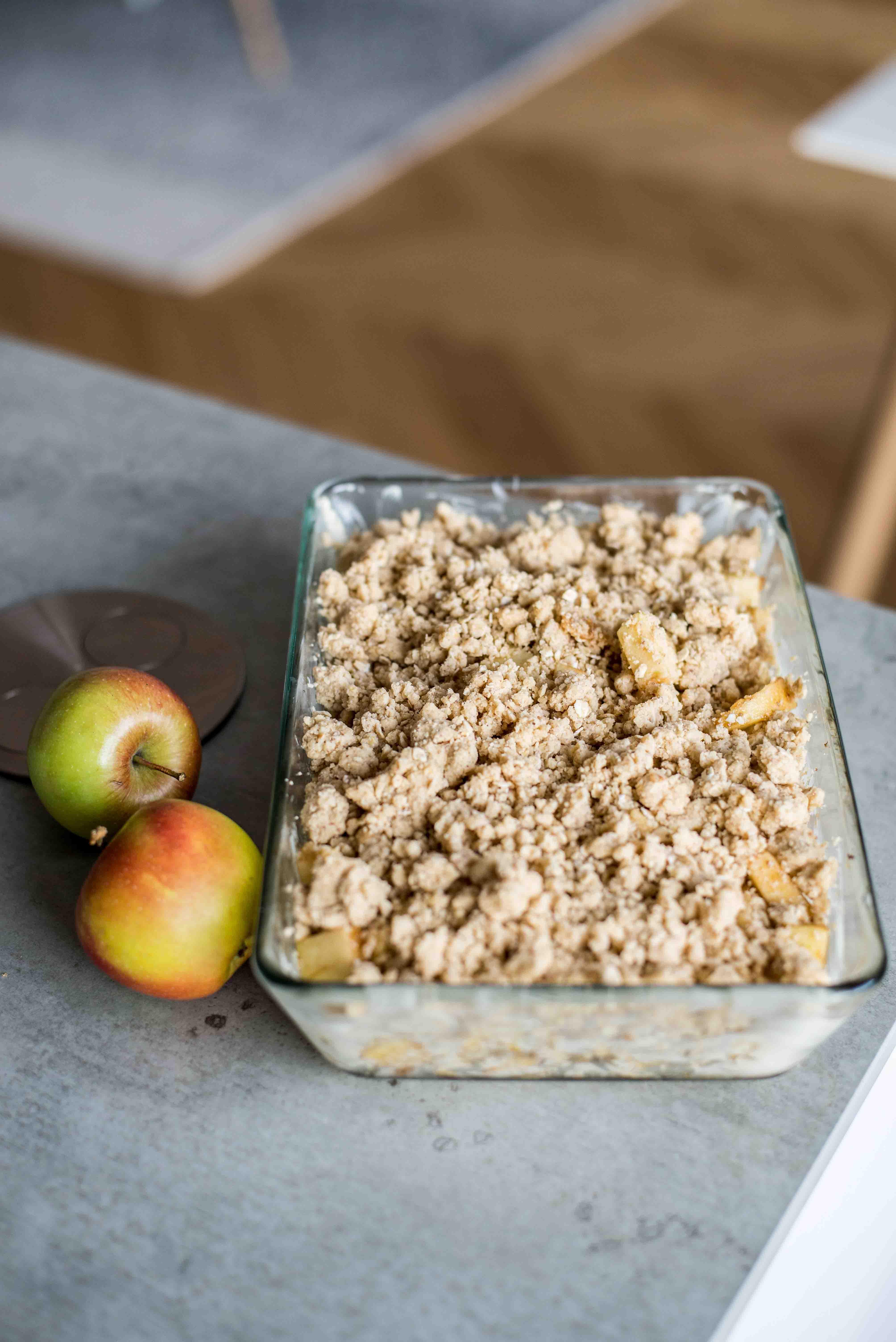 Rezept für veganen Apple Crumble