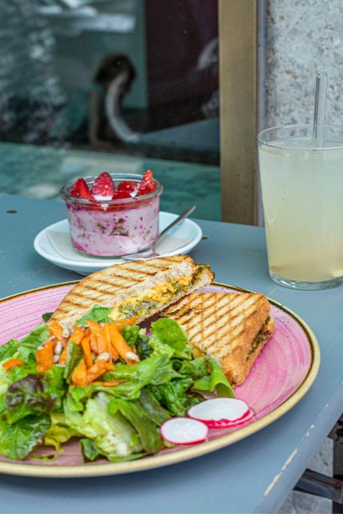 Veganes Grilled Cheese Sandwich auf einem pinken Teller mit Salatbeilage, LImonade und Rohkost-Dessert.